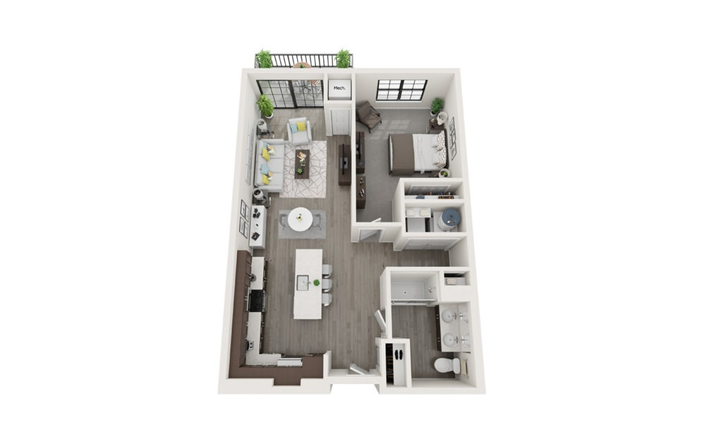 A1 - 1 bedroom floorplan layout with 1 bath and 826 square feet.