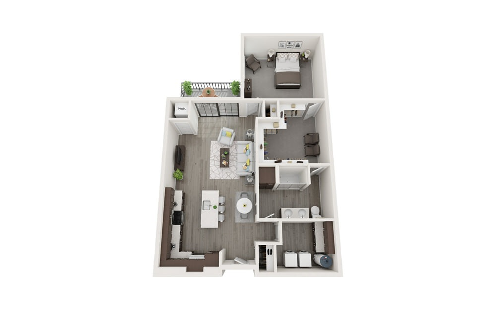 A2 - 1 bedroom floorplan layout with 1 bath and 975 to 1039 square feet.