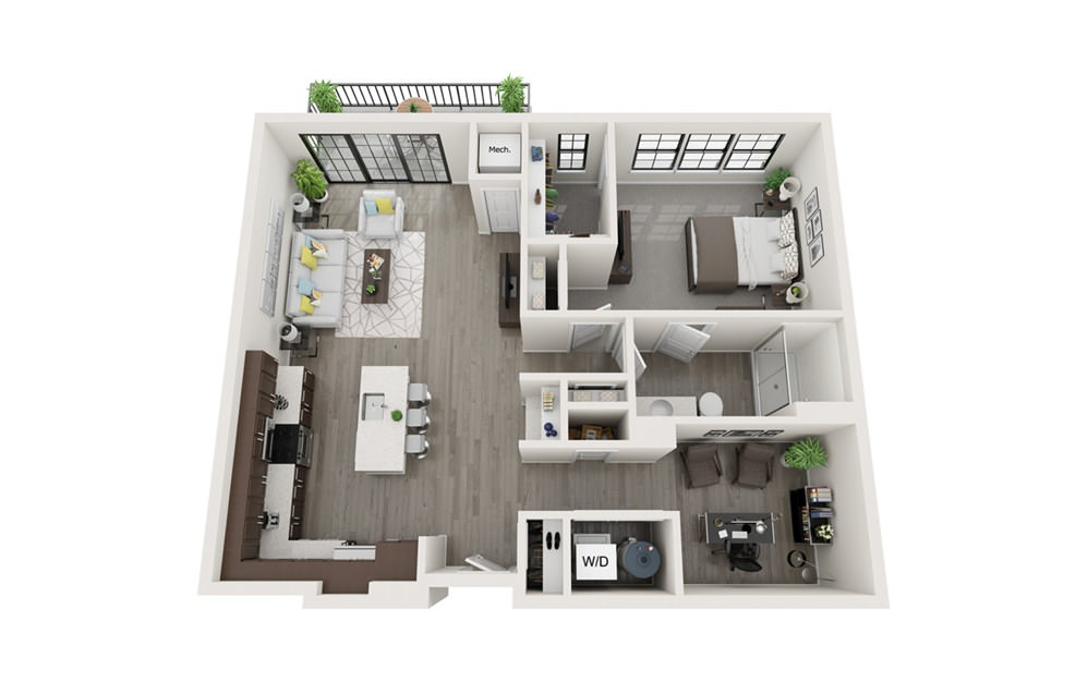 A3 - 1 bedroom floorplan layout with 1 bath and 955 square feet.