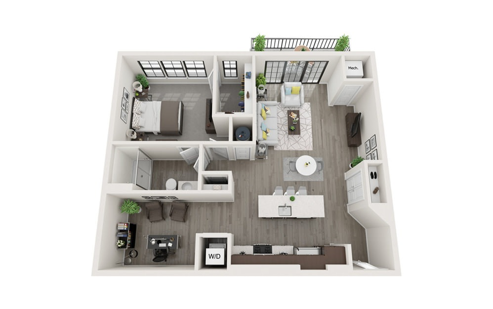 A4 - 1 bedroom floorplan layout with 1 bath and 955 square feet.