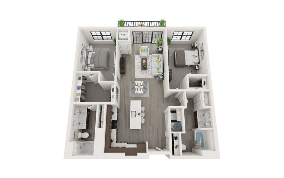 B1 - 2 bedroom floorplan layout with 2 baths and 1183 square feet.