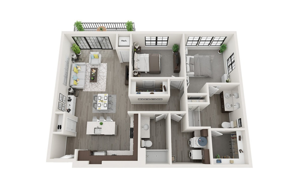 B2 - 2 bedroom floorplan layout with 2 baths and 1199 square feet.