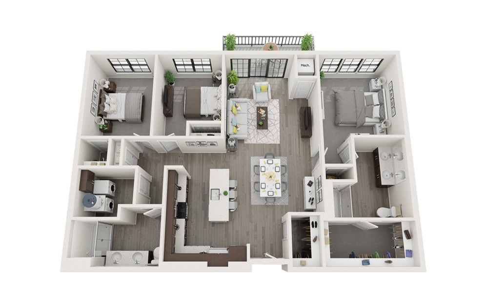 C1 - 3 bedroom floorplan layout with 2 baths and 1466 square feet.