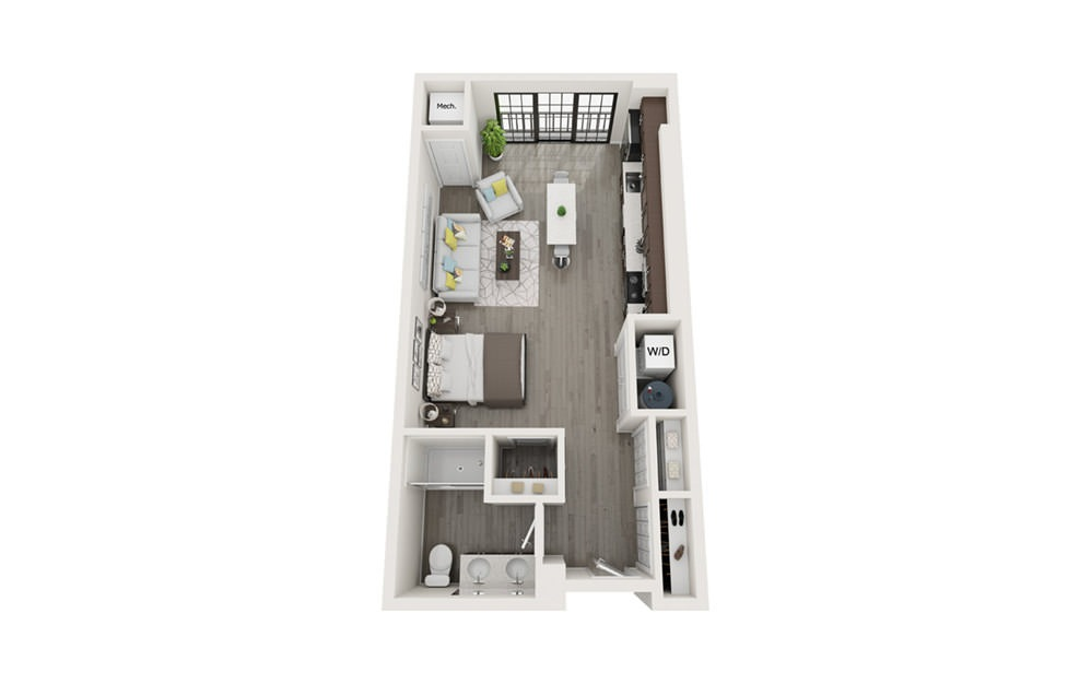 S1 - Studio floorplan layout with 1 bath and 577 square feet.