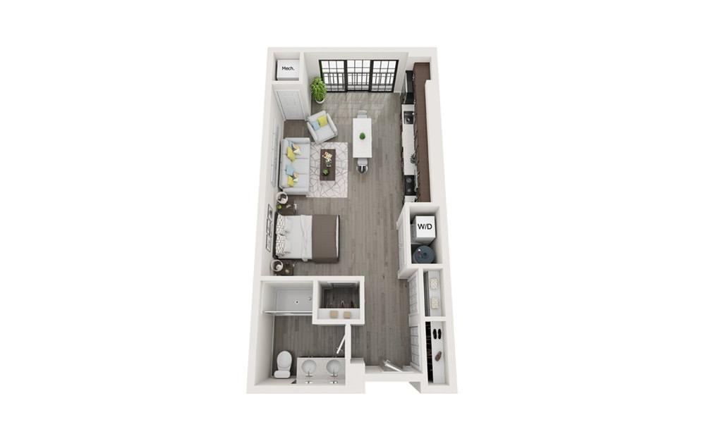 S1 - Studio floorplan layout with 1 bath and 577 square feet.