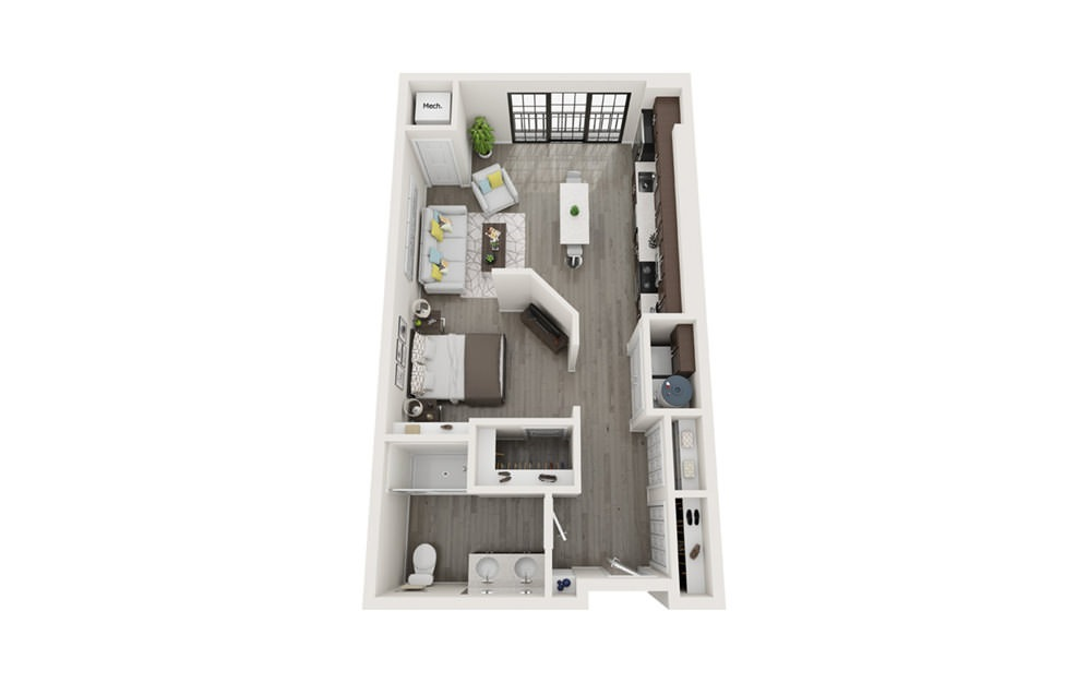 S2 - Studio floorplan layout with 1 bath and 651 to 820 square feet.